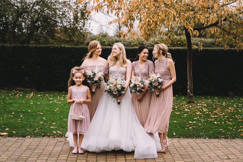 Bridesmaids Bridesmaid Dress Dresses Pink Glitter Sequin Maidens Barn Wedding Sophie Oldhamstead Photography