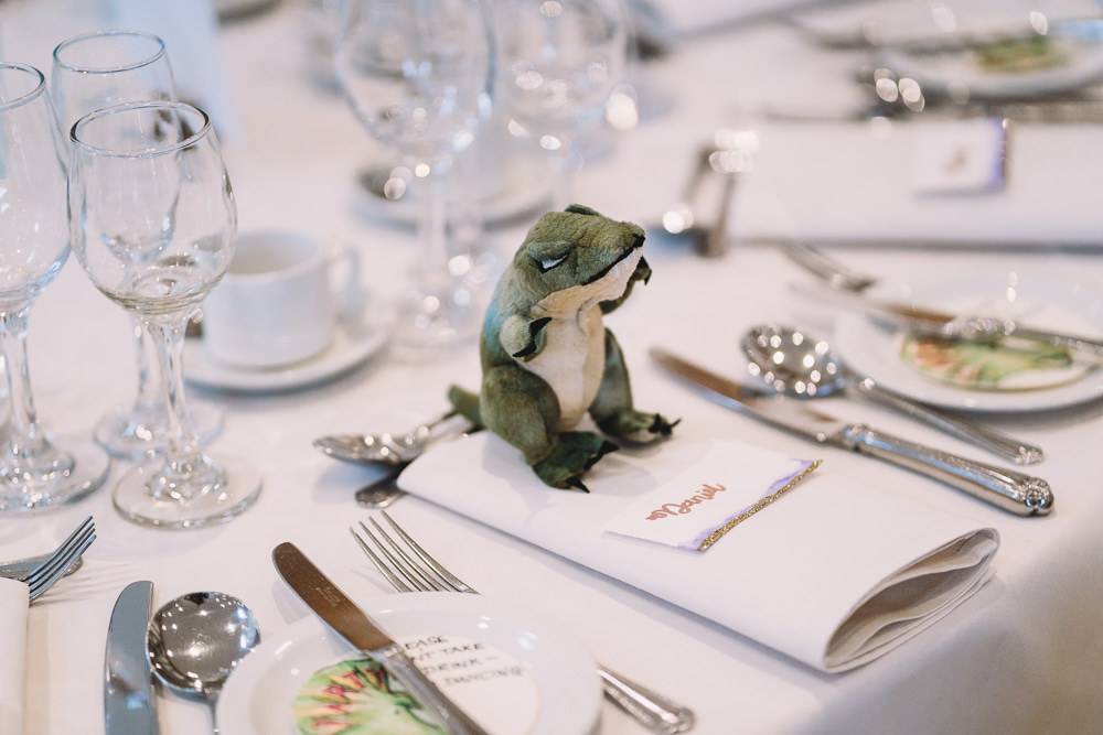 Teddy Dinosaur Favour Maidens Barn Wedding Sophie Oldhamstead Photography