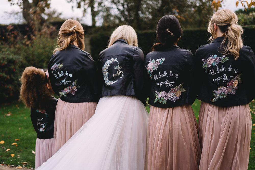Bride Bridal Bridesmaid Leather Jacket Personalised Painted Maidens Barn Wedding Sophie Oldhamstead Photography