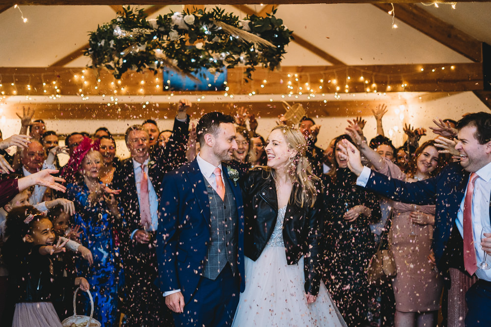 Confetti Throw Maidens Barn Wedding Sophie Oldhamstead Photography