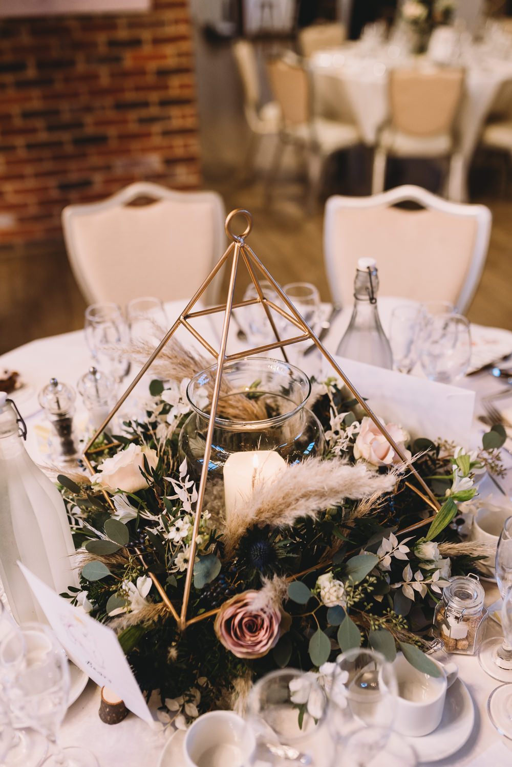 Terrarium Centrepiece Decor Flowers Maidens Barn Wedding Sophie Oldhamstead Photography