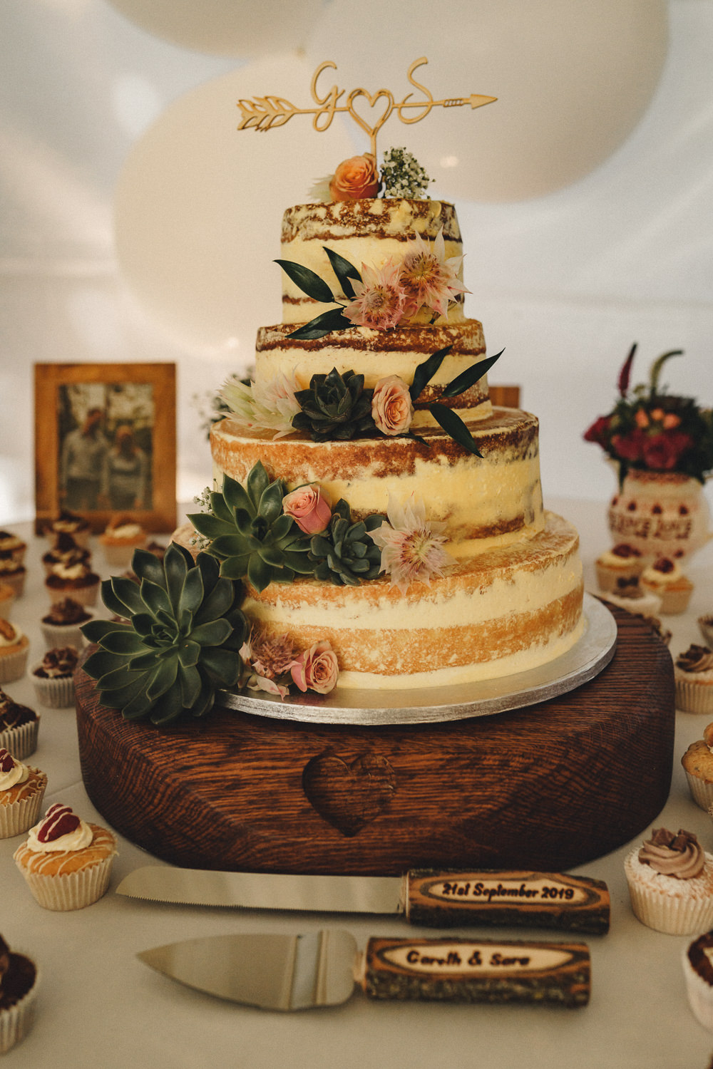 Semi Naked Cake Flowers Succulents Topper Log Slice Stand Marquee Wedding Home The Chamberlins