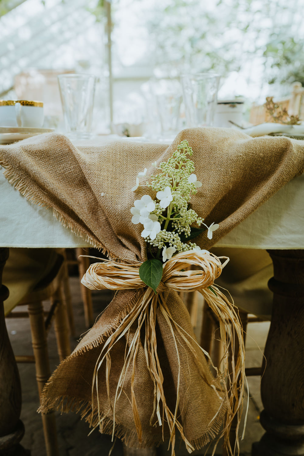 Hessian Burlap Chairs Flowers Micro Wedding Nicola Dawson Photography