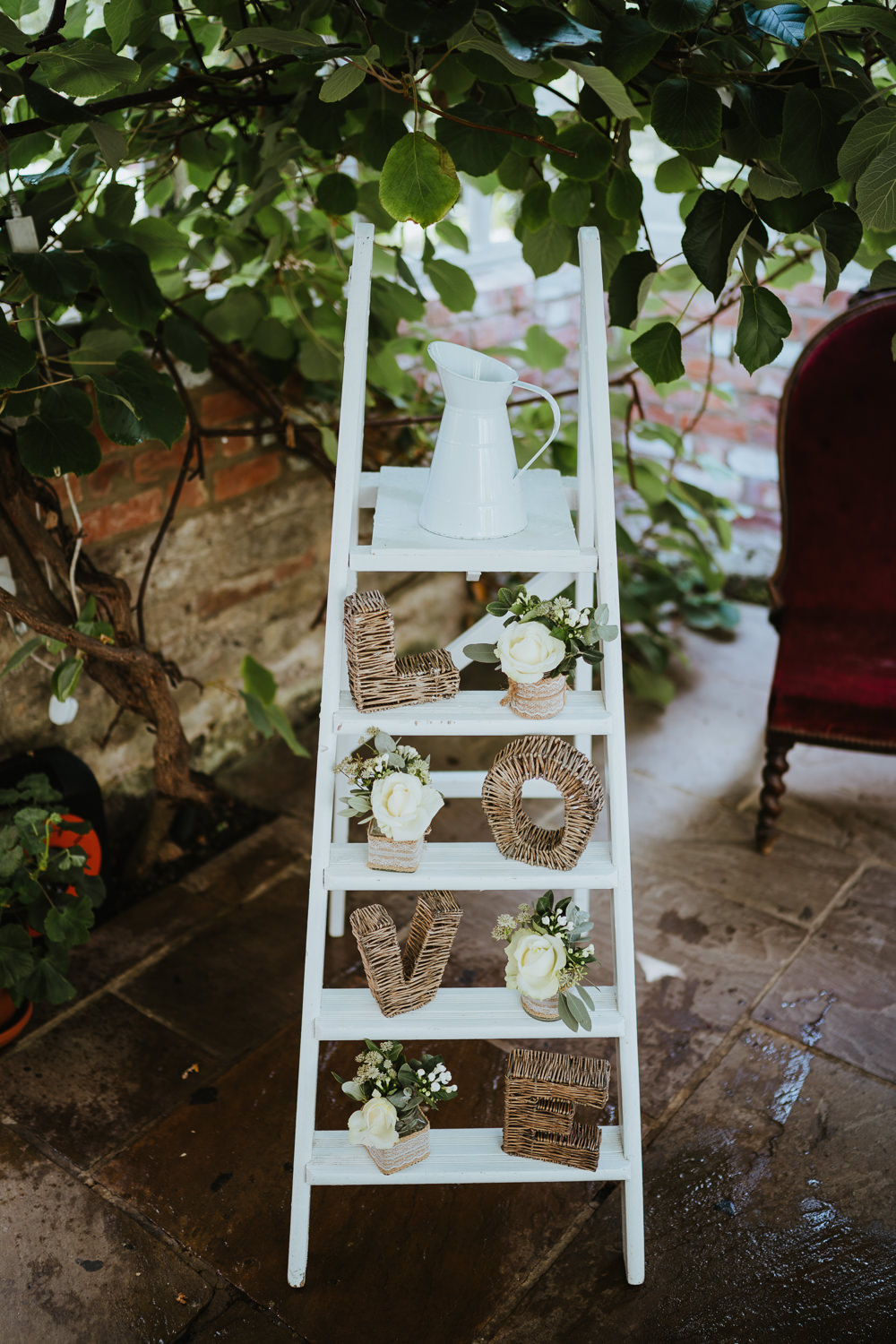 Wooden Ladder Decor Flowers Micro Wedding Nicola Dawson Photography