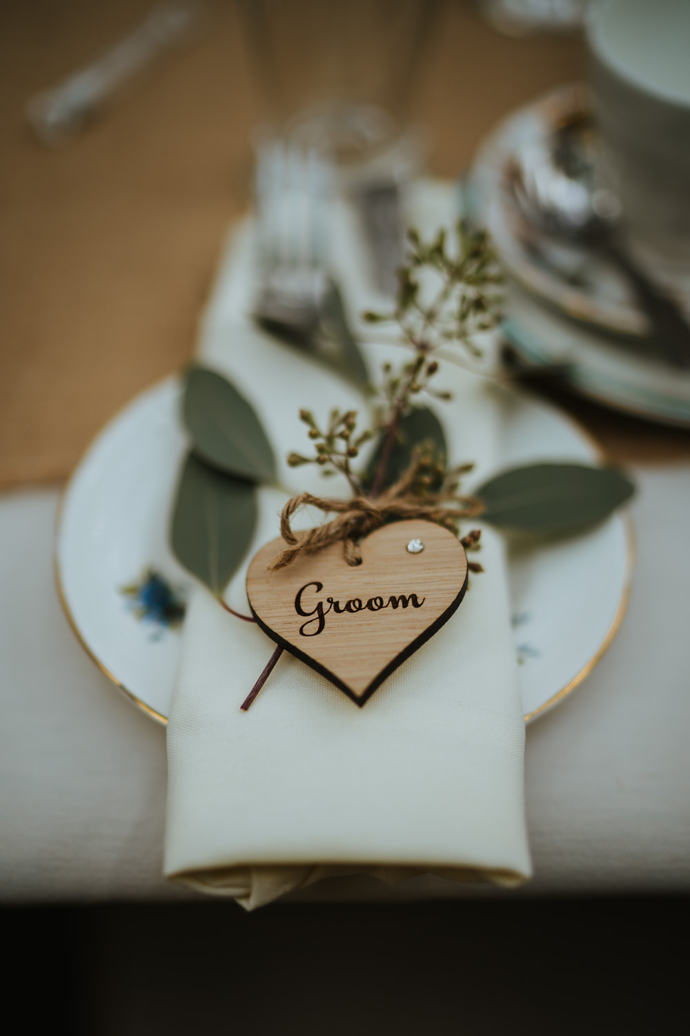 Heart Wooden Place Name Naplin Place Setting Micro Wedding Nicola Dawson Photography