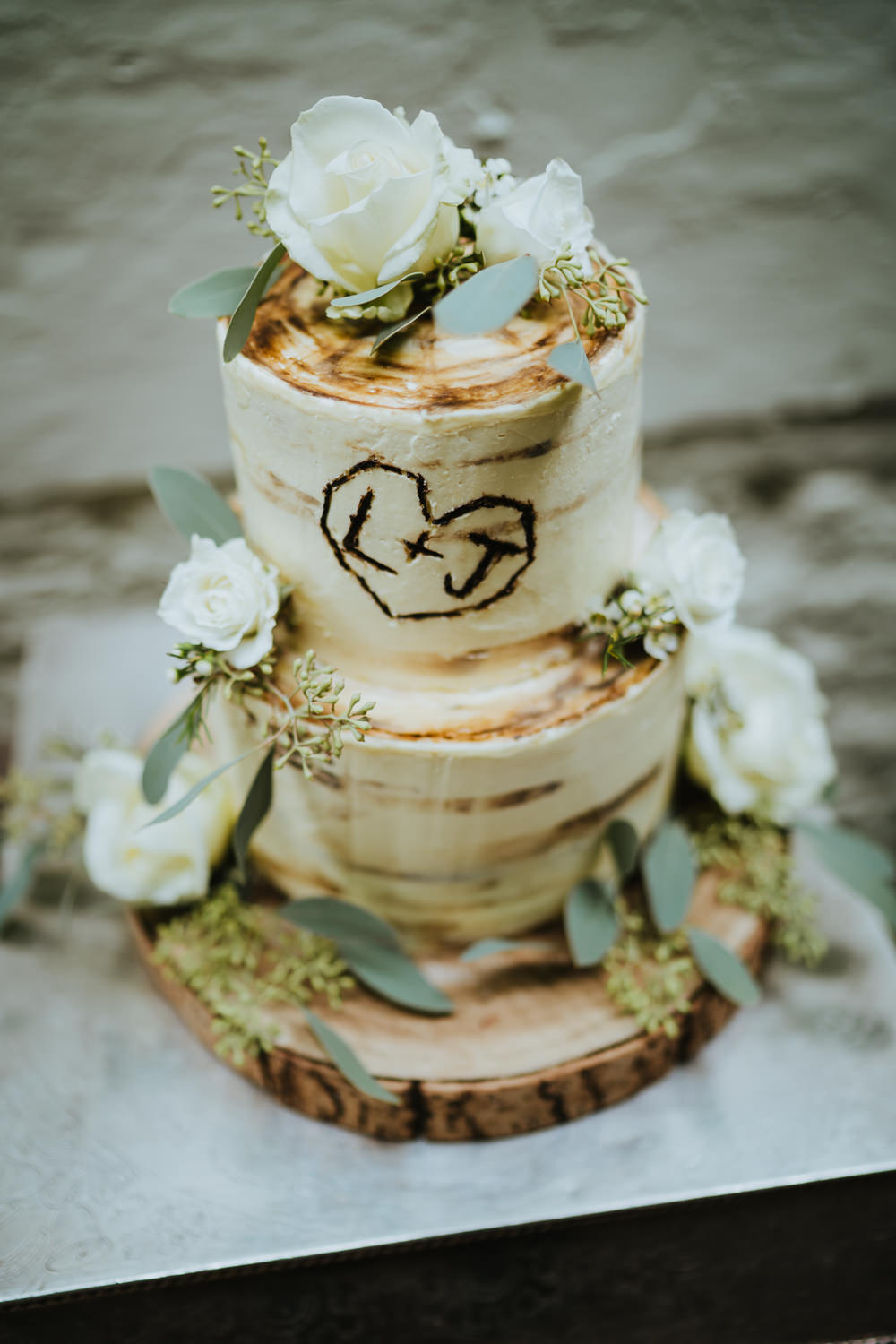 Rustic Buttercream Cake Heart Initials Wood Tree Log Flowers Micro Wedding Nicola Dawson Photography