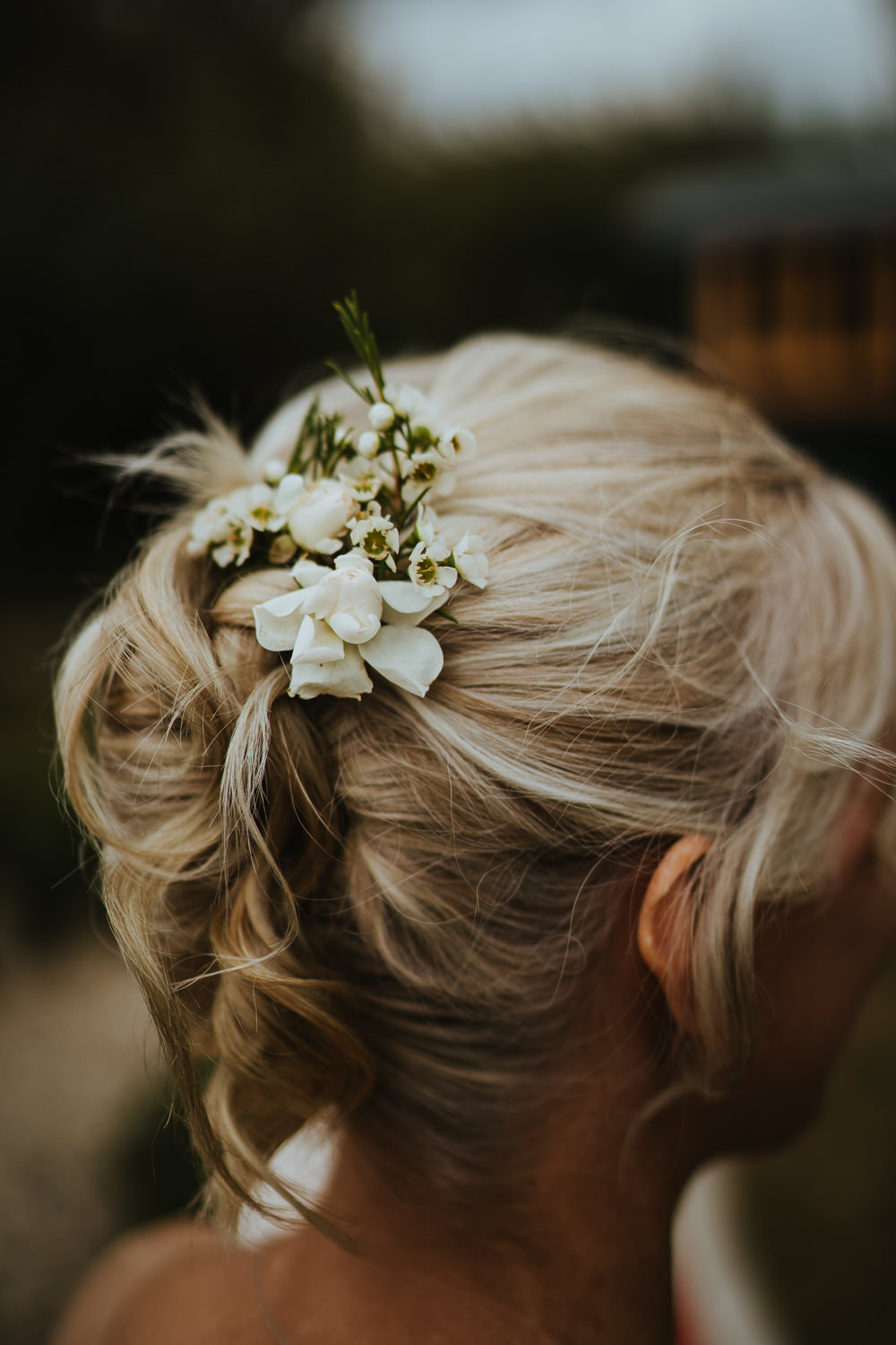 Bride Bridal Hair Style Up Do Flowers Micro Wedding Nicola Dawson Photography