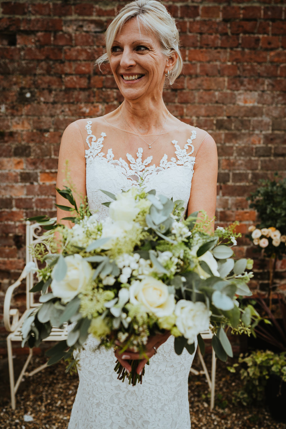 Bouquet Flowers Bride Bridal Large Greeenery Foliage White Eucalyptus Rose Micro Wedding Nicola Dawson Photography