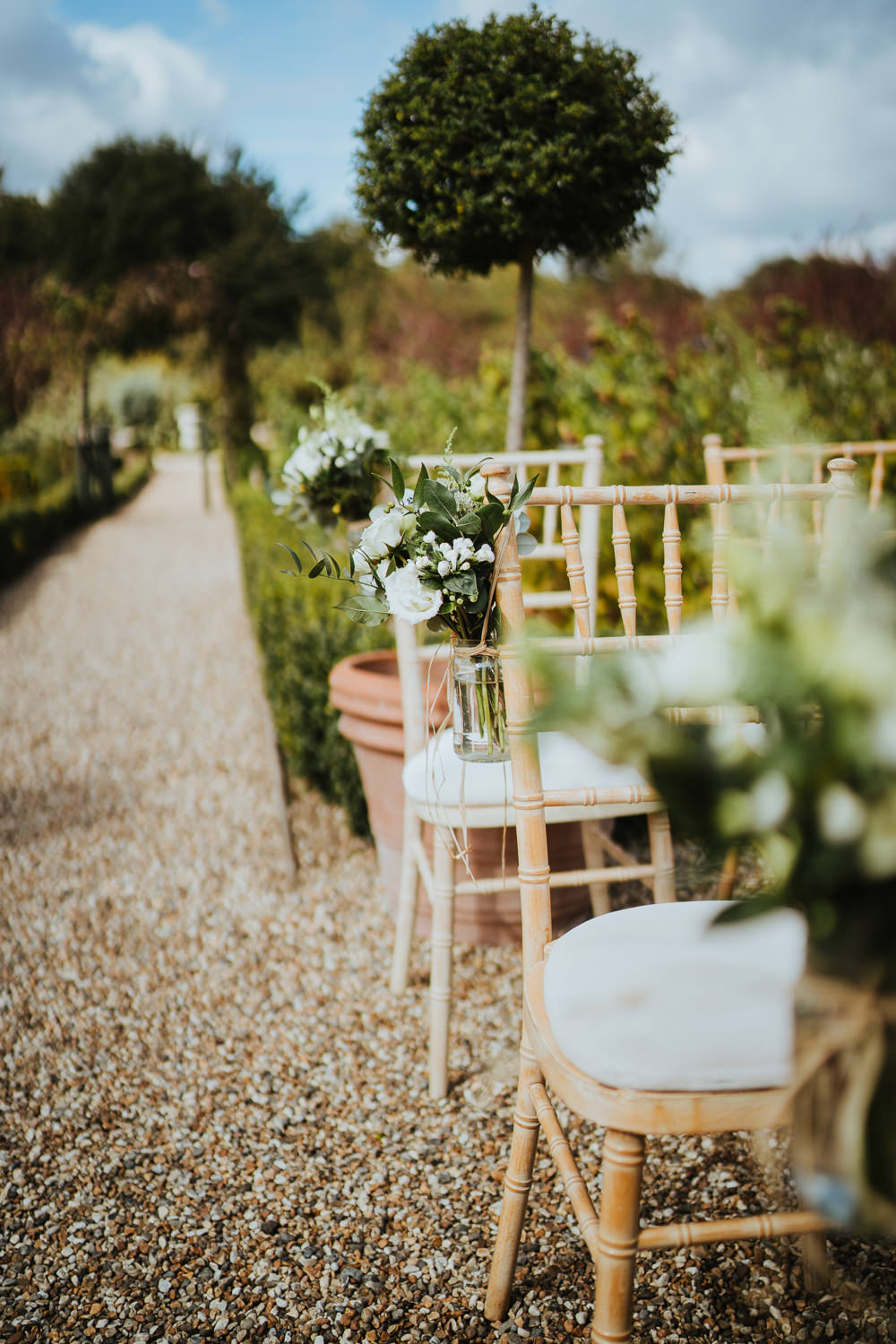 Chair Pew End Aisle Flowers White Greenery Foliage Jars Micro Wedding Nicola Dawson Photography