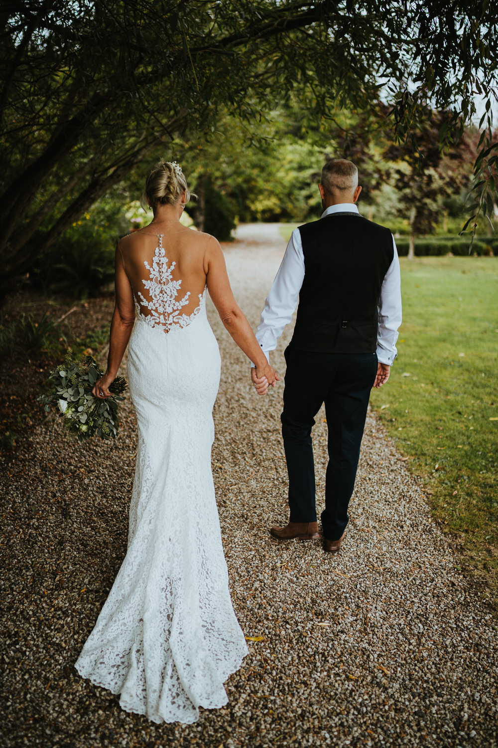 Dress Gown Bride Bridal Illusion Lace Back Train Micro Wedding Nicola Dawson Photography
