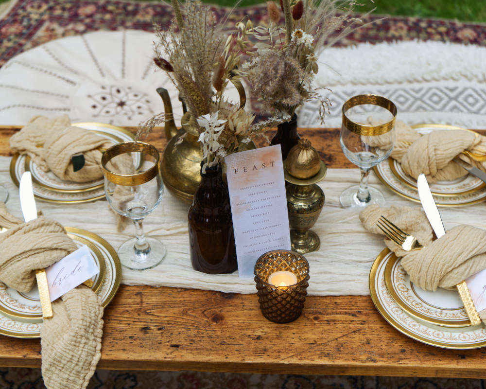 Centrepiece Table Tablescape Decor Gold Copper Dried Flowers Seeds Grass Moroccan Wedding Inspiration Luke Batchelor Productions