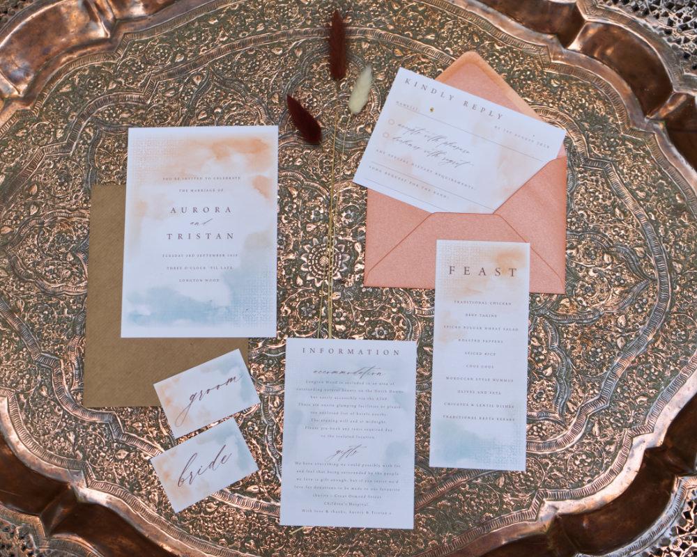 Stationery Invite Invitation Watercolour Calligraphy Moroccan Wedding Inspiration Luke Batchelor Productions