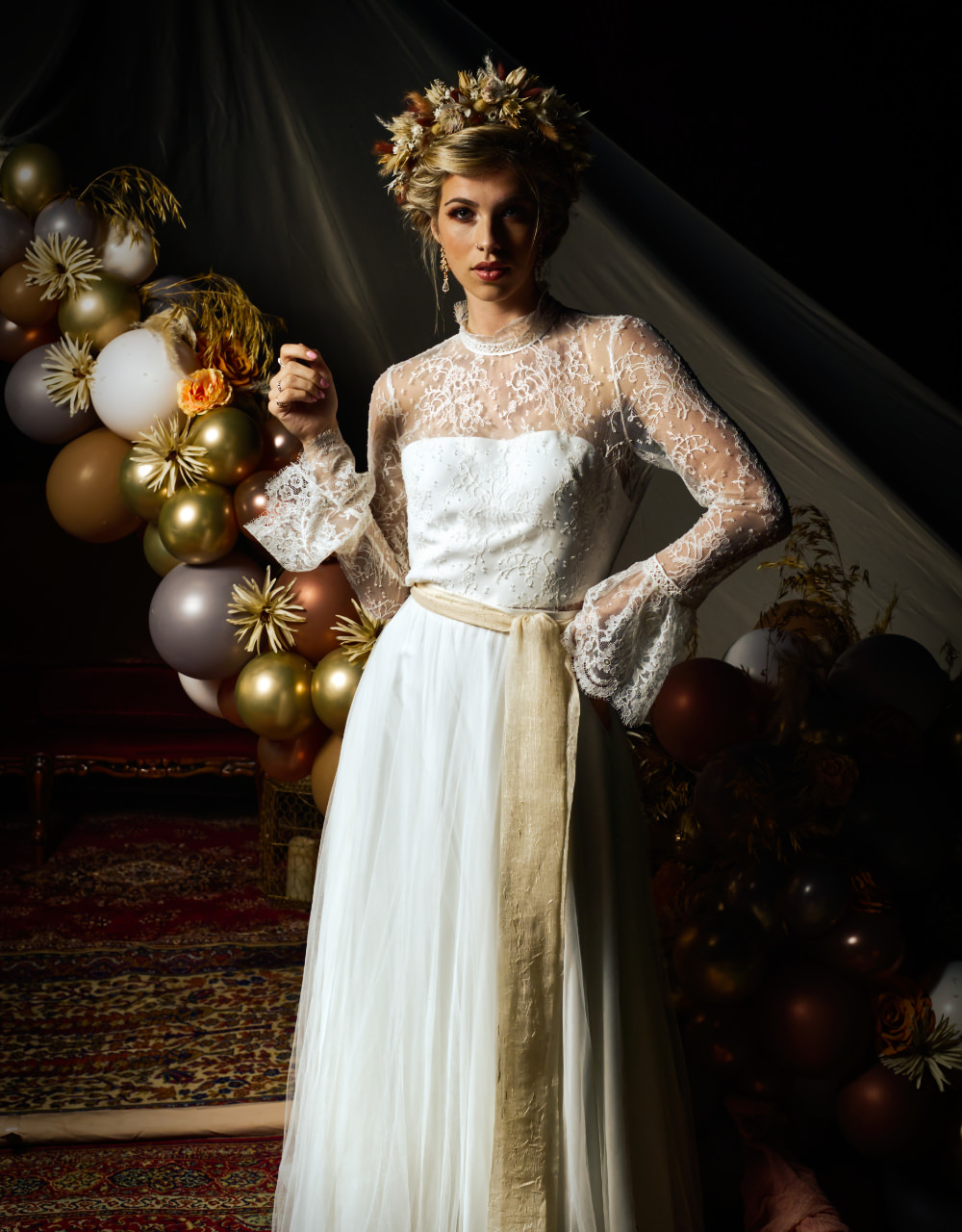 Bride Bridal Dress Gown High Neck Lace Sleeves Lisa Lyons Bridal Moroccan Wedding Inspiration Luke Batchelor Productions