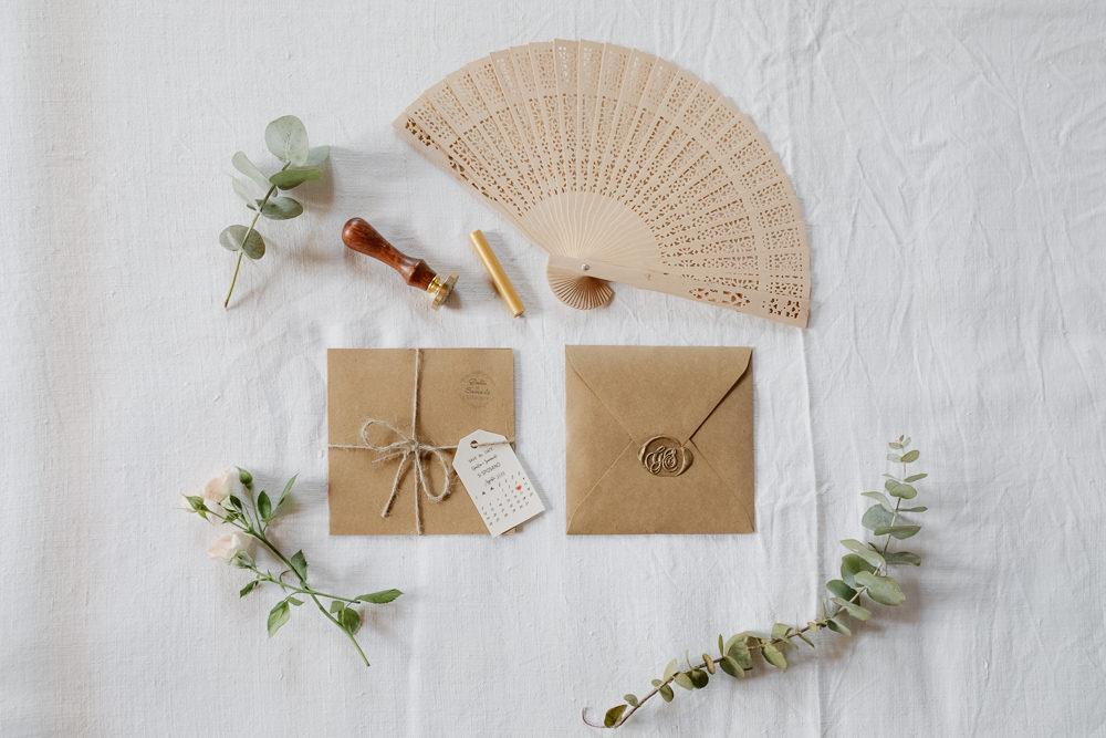 Stationery Kraft Brown Paper Twine Fan Greenery Invite Invitation Natural Italy Villa Wedding Flavia Eleonora Tullio