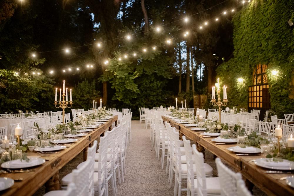 Outdoor Reception Festoon Lights Lighting Natural Italy Villa Wedding Flavia Eleonora Tullio