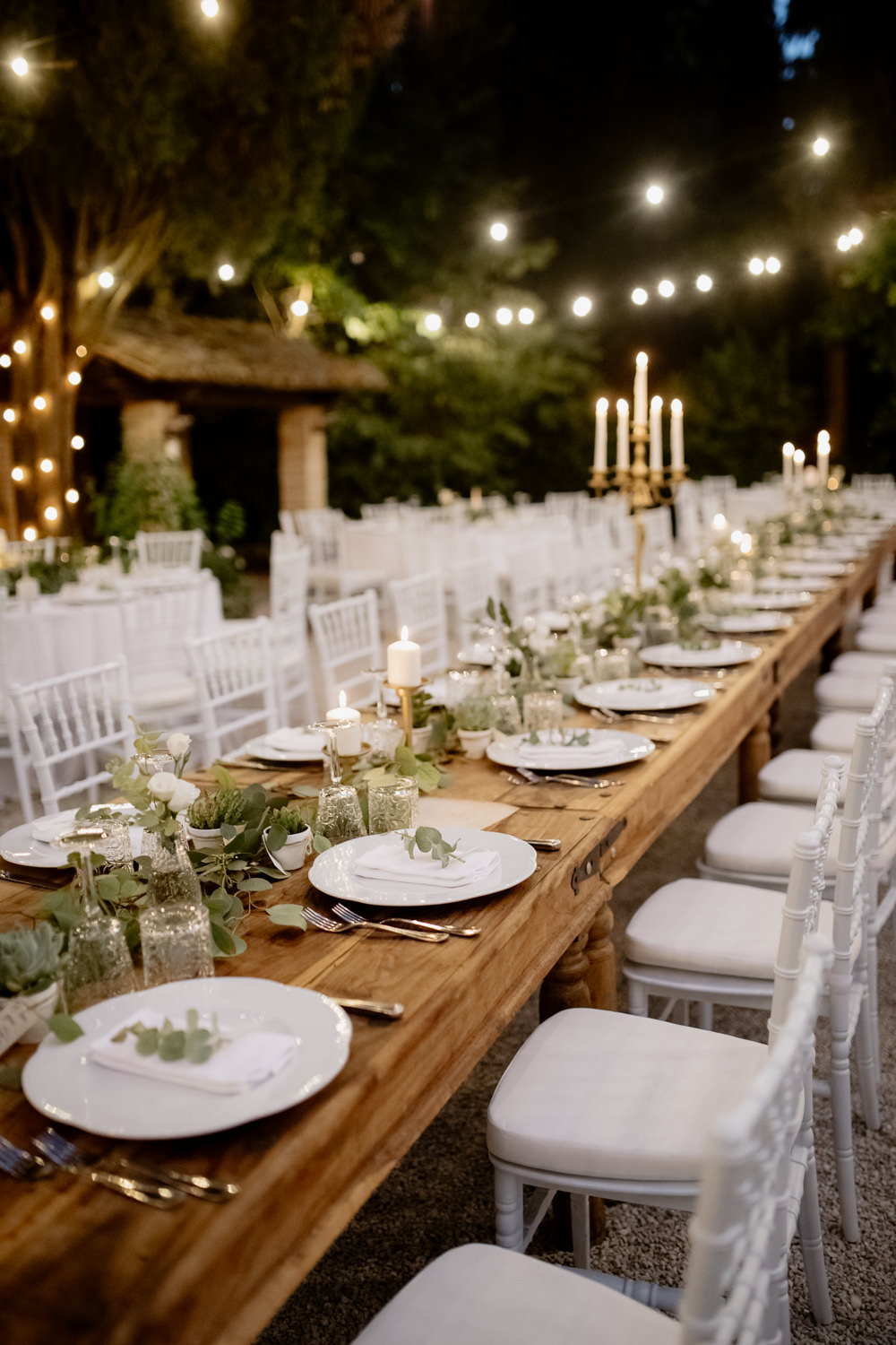 Table Tablescape Greenery Foliage Gold Cutlery Candles Place Setting Natural Italy Villa Wedding Flavia Eleonora Tullio