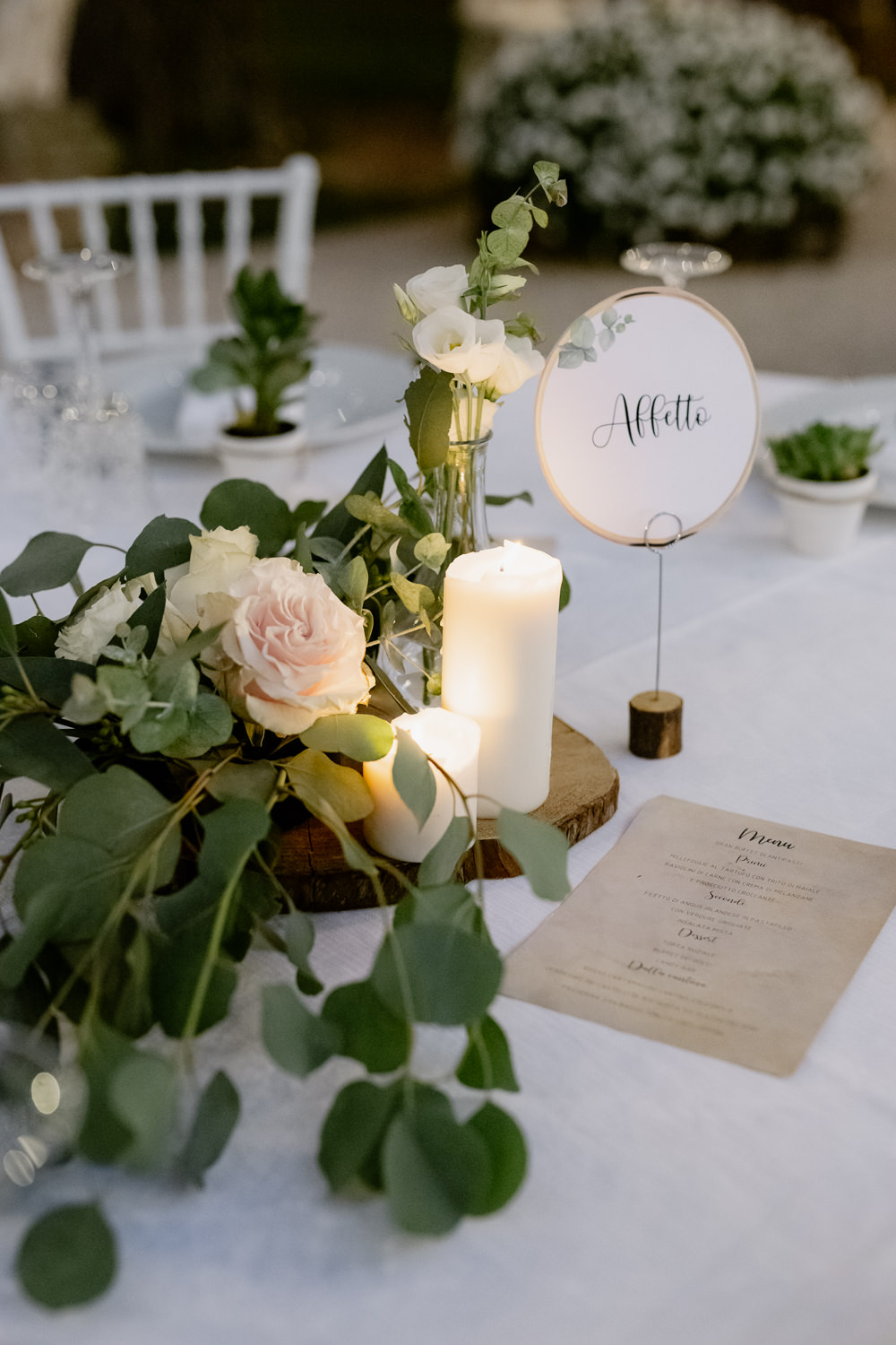 Centrepiece Flowers Log Candles Table Name Natural Italy Villa Wedding Flavia Eleonora Tullio