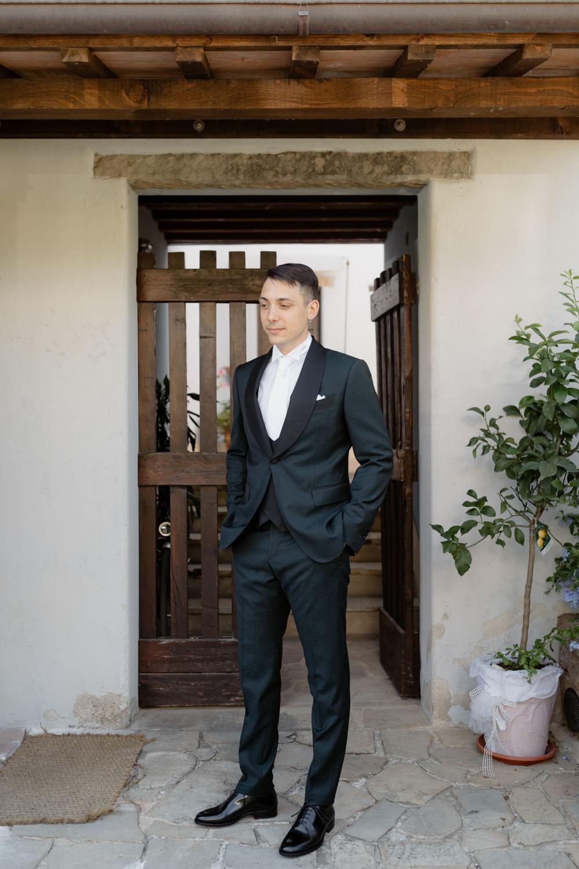Groom Suit Black White Tie Natural Italy Villa Wedding Flavia Eleonora Tullio