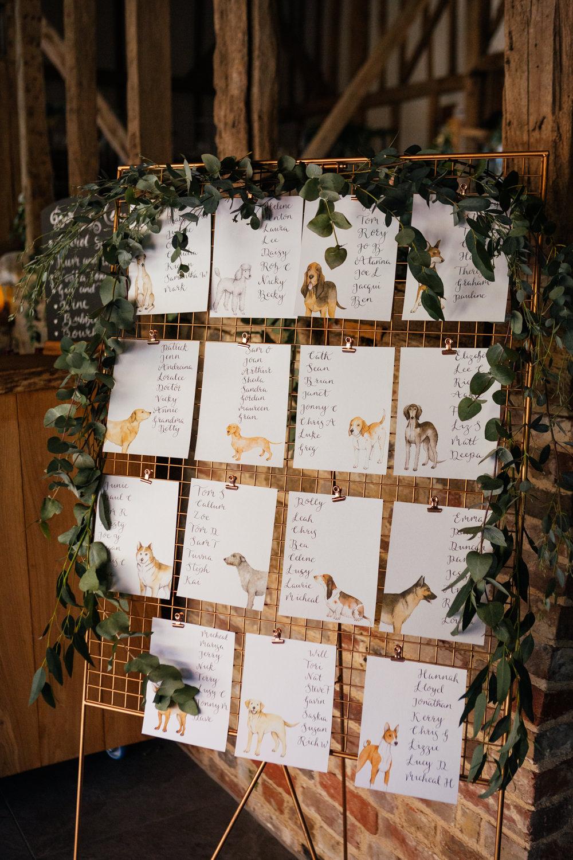 Table Plan Seating Chart Dog Greenery Foliage Oak Barn Wedding Matilda Delves Photography