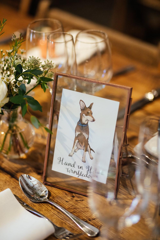 Dog Table Names Oak Barn Wedding Matilda Delves Photography