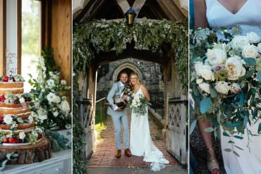Greenery Filled Barn Wedding Featuring Dogs & A Glittery Wedding Gown