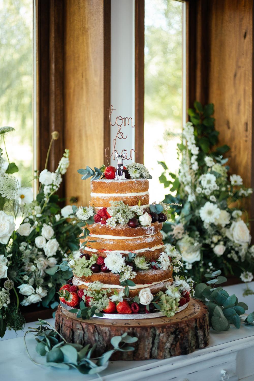 Naked Cake Sponge Layer Fruit Berries Flowers Log Stand Oak Barn Wedding Matilda Delves Photography
