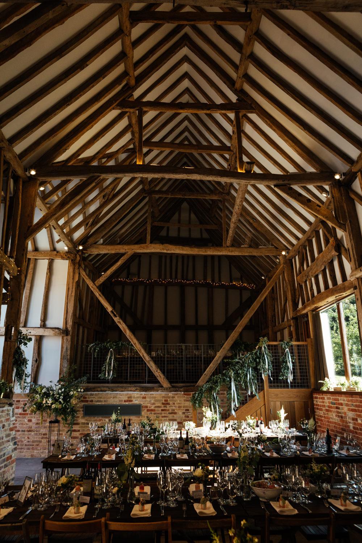 Long Wooden Tables Greenery Foliage Oak Barn Wedding Matilda Delves Photography