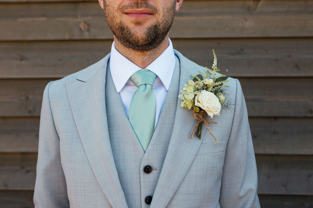 Groom Groomsmen Suit Grey Green Tie Brown Shoes Buttonhole Oak Barn Wedding Matilda Delves Photography