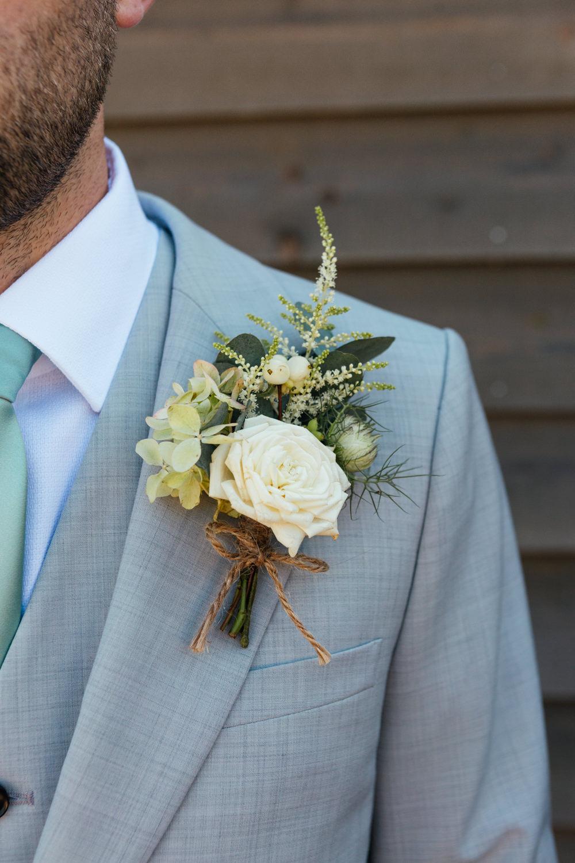 Groom Groomsmen Suit Grey Green Tie Brown Shoes Buttonhole Flowers Oak Barn Wedding Matilda Delves Photography