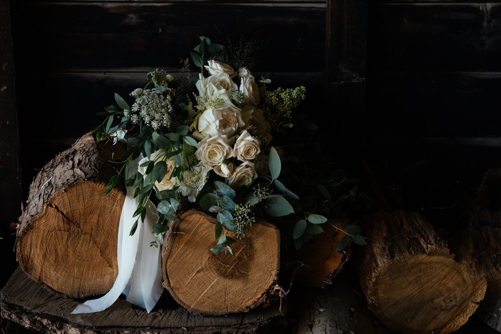 Bouquet Flowers Bride Bridal Rose Eucalyptus Ribbon Oak Barn Wedding Matilda Delves Photography