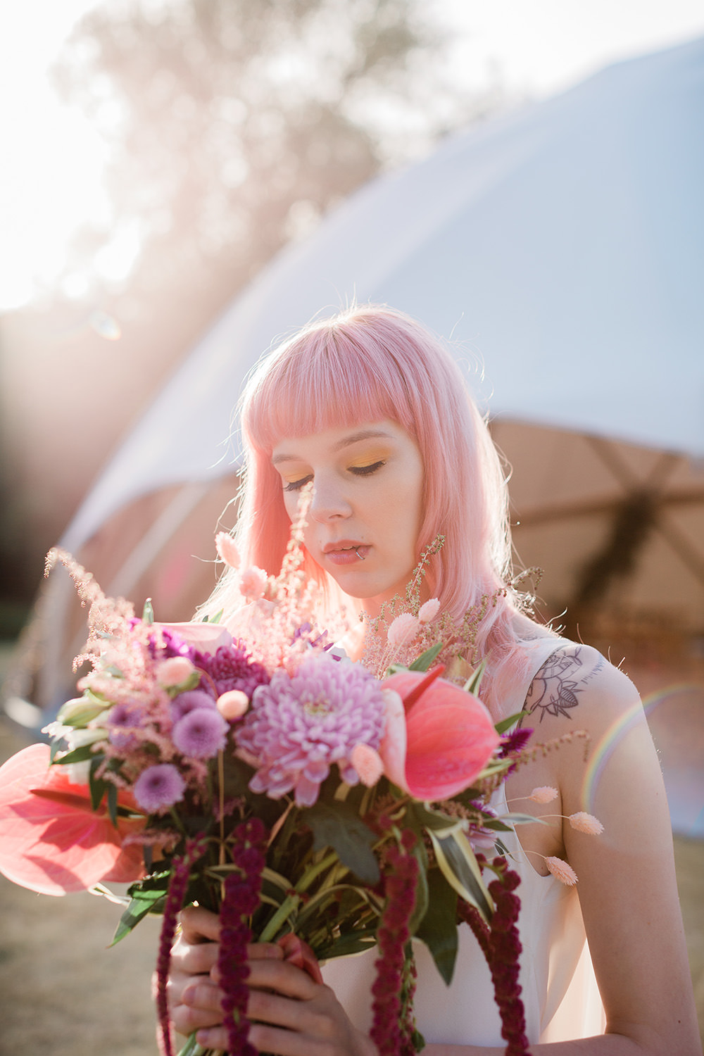 Bouquet Flowers Bride Bridal Astilbe Dahlia Lily Amaranthus Red Pink Geodome Wedding Ideas Louise Henesy Photography