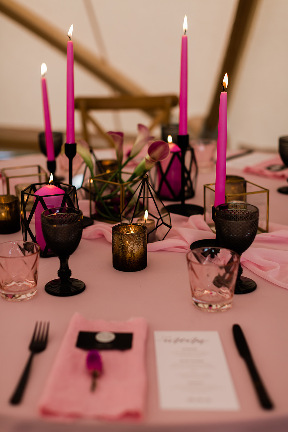 Modern Decor Stationery Table Cloth Runner Black Cutlery Table Candles Pink Geodome Wedding Ideas Louise Henesy Photography