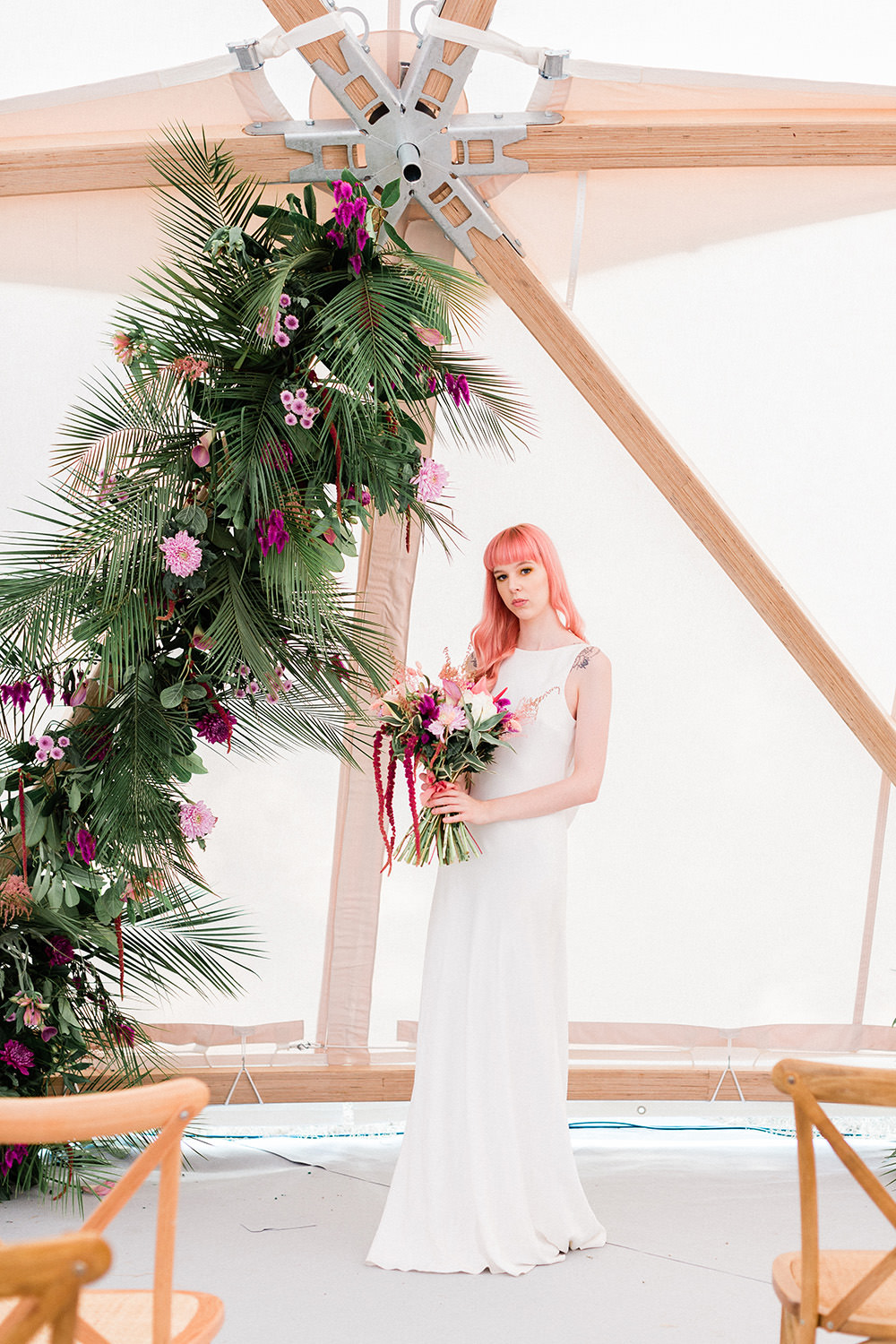 Tropical Flowers Leaves Leaf Installation Arch Pink Geodome Wedding Ideas Louise Henesy Photography