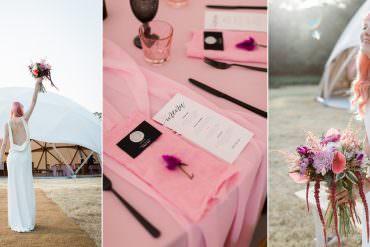 Cool Modern Pink & Black Geodome Wedding Ideas