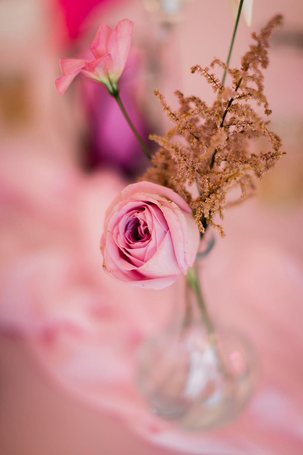 Rose Flowers Centrepiece Pink Geodome Wedding Ideas Louise Henesy Photography