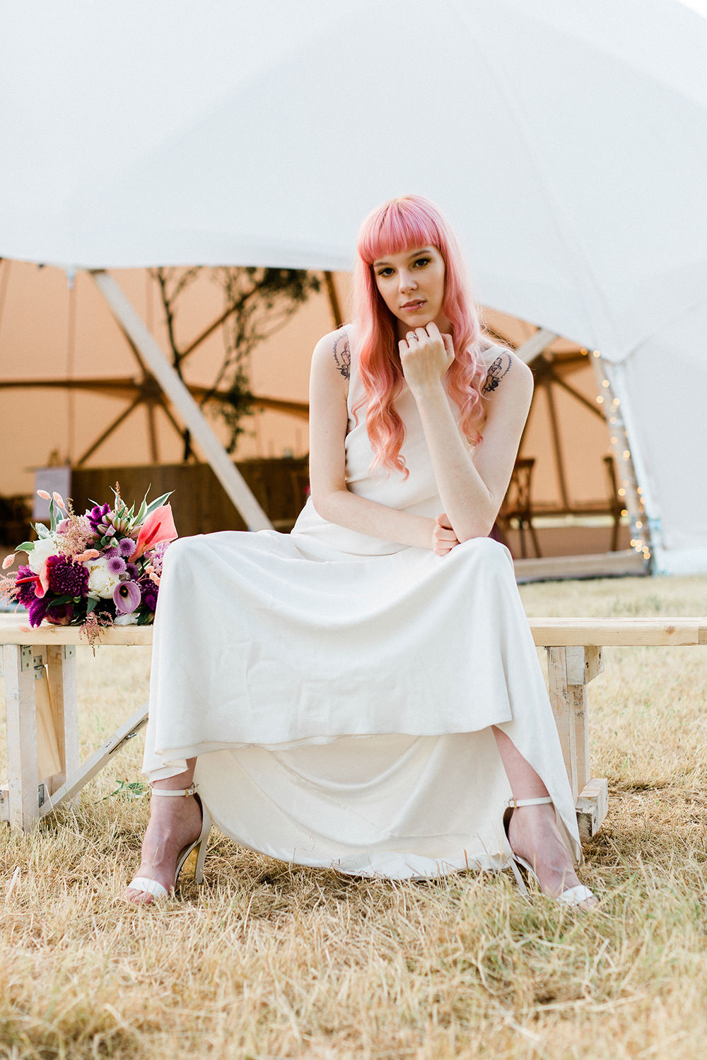 Bride Bridal Dress Gown Modern Sleek Low Cowl Back Hair Fringe Bangs Pink Geodome Wedding Ideas Louise Henesy Photography
