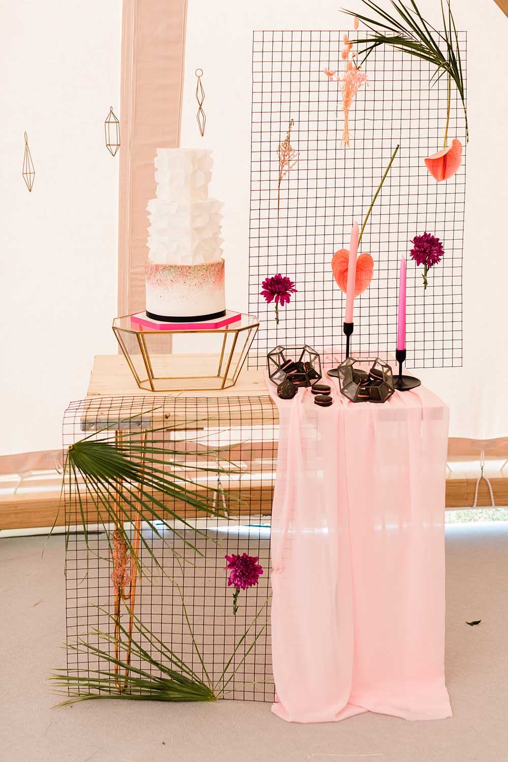 Cake Table Tropical Wire Backdrop Candles Black Pink Geodome Wedding Ideas Louise Henesy Photography