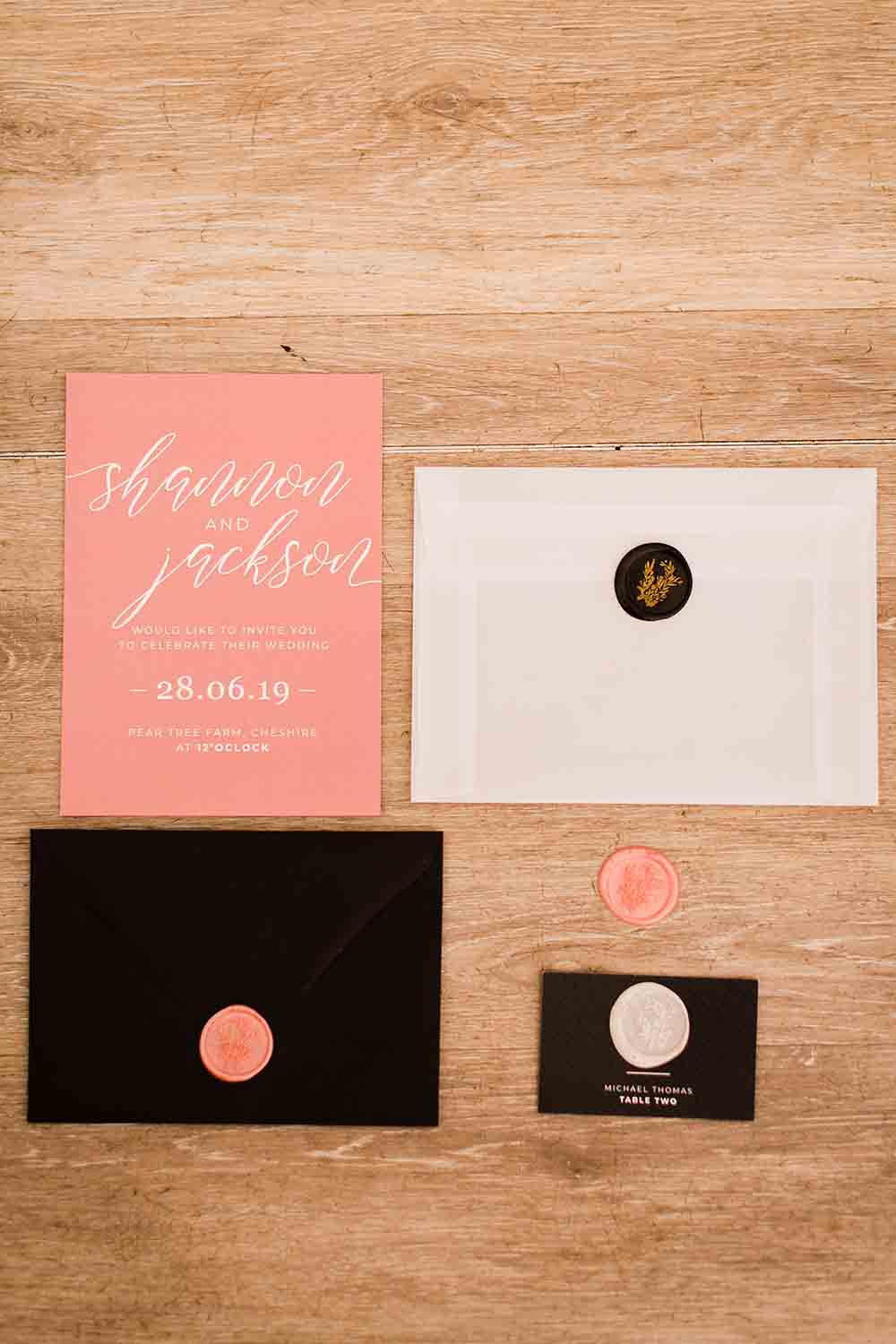 Stationery Invite Invitations Black Pink Geodome Wedding Ideas Louise Henesy Photography