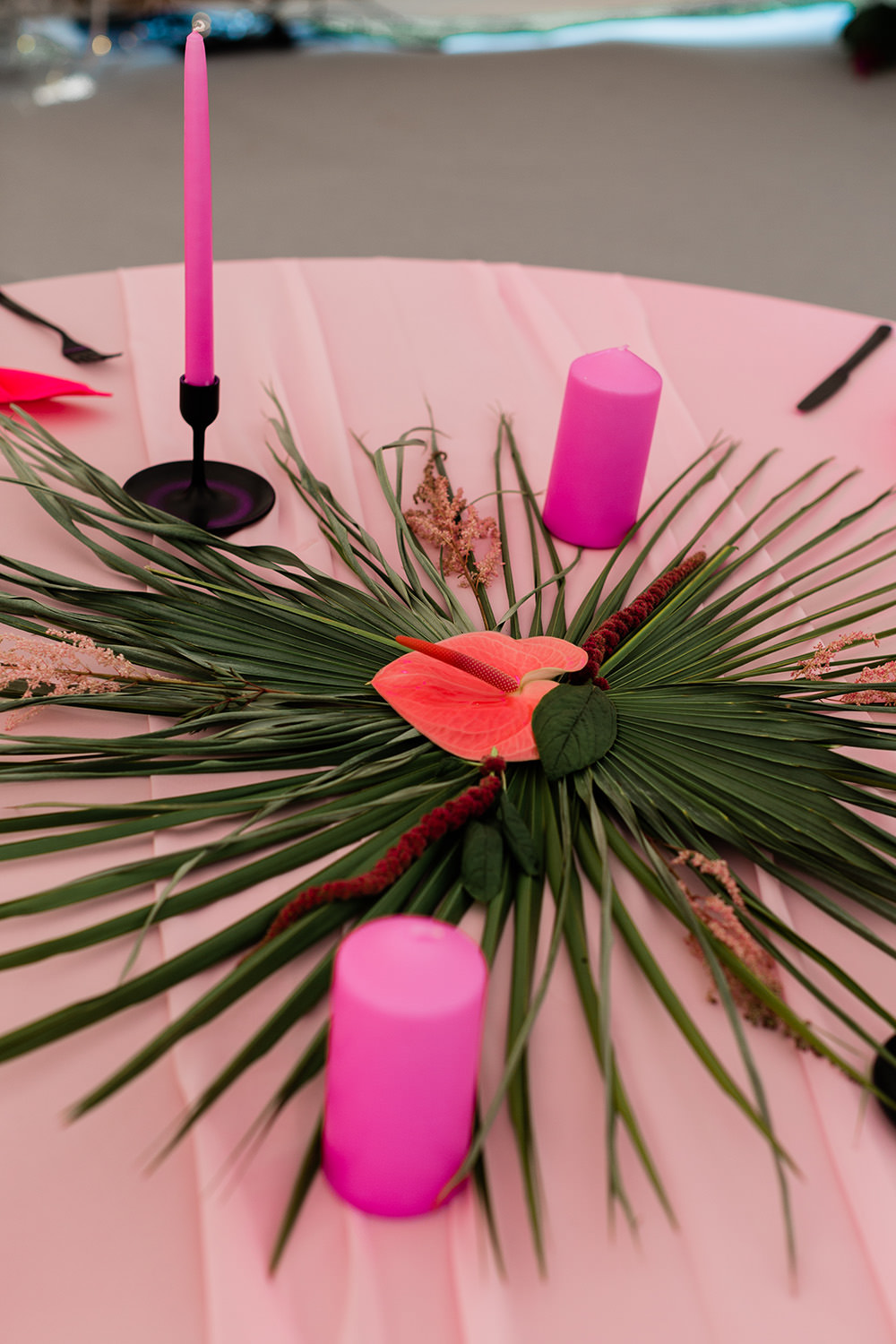 Tropical Palm Leaves Leaf Centrepiece Decor Candles Pink Geodome Wedding Ideas Louise Henesy Photography