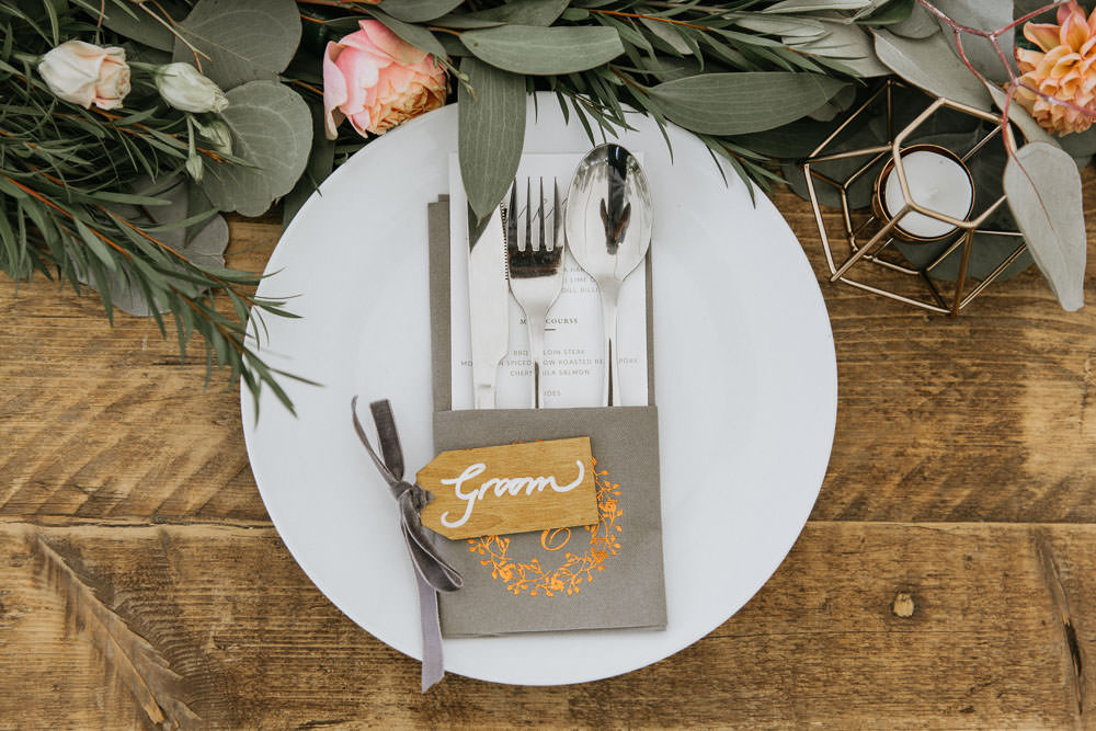 Place Setting Plate Cutlery Luggage Tag Place Name Napkin Summer Boho Wedding Wild Tide Weddings
