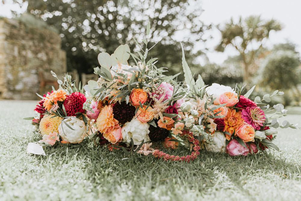 Bouquet Flowers Bride Bridal Peony Peonies Dahlia Coral Pink Summer Boho Wedding Wild Tide Weddings