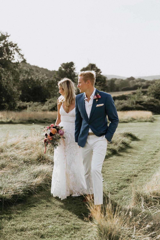 Groom Groomsmen Suit Blue Jacket Chinos Shirt Pocketsquare Summer Boho Wedding Wild Tide Weddings