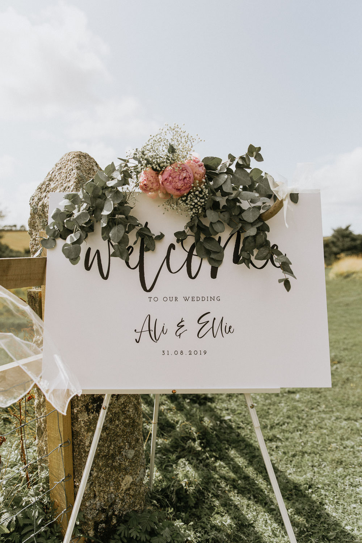Welcome Sign Calligraphy Greenery Flowers Summer Boho Wedding Wild Tide Weddings