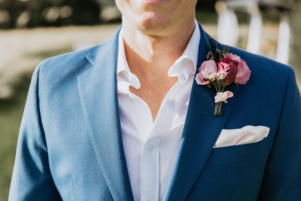 Groom Groomsmen Suit Blue Jacket Chinos Shirt Pocketsquare Buttonhole Flowers Summer Boho Wedding Wild Tide Weddings