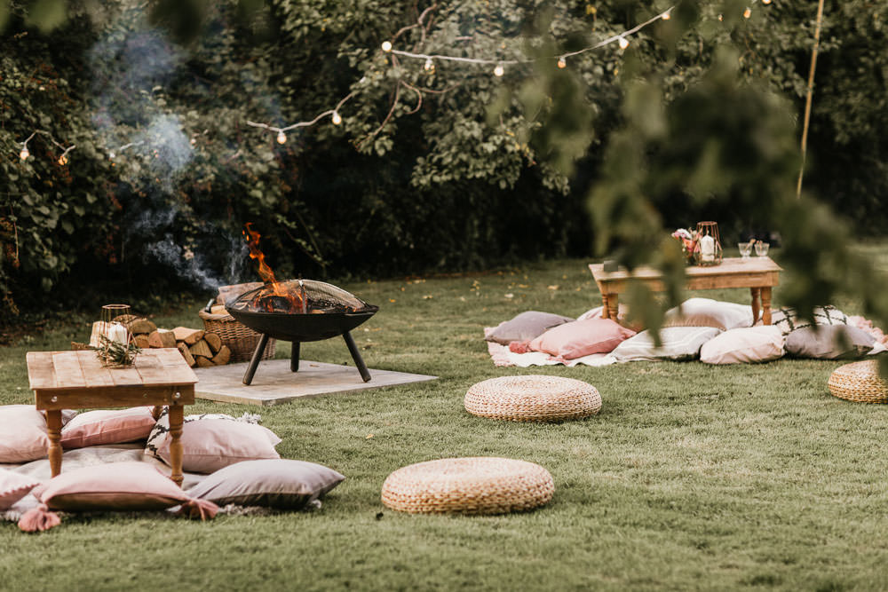 Fire Pit Cushions Outdoor Area Summer Boho Wedding Wild Tide Weddings