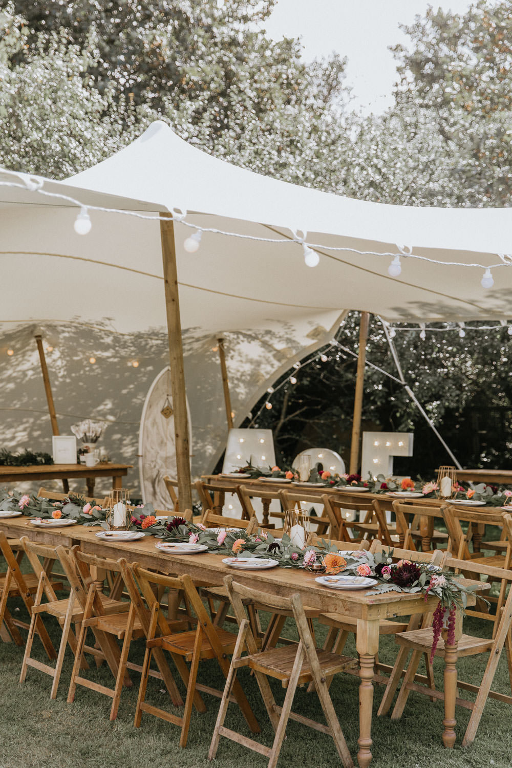 Stretch Tent Outdoor Festoon Lights Long Wooden Antique Tables Chairs Summer Boho Wedding Wild Tide Weddings
