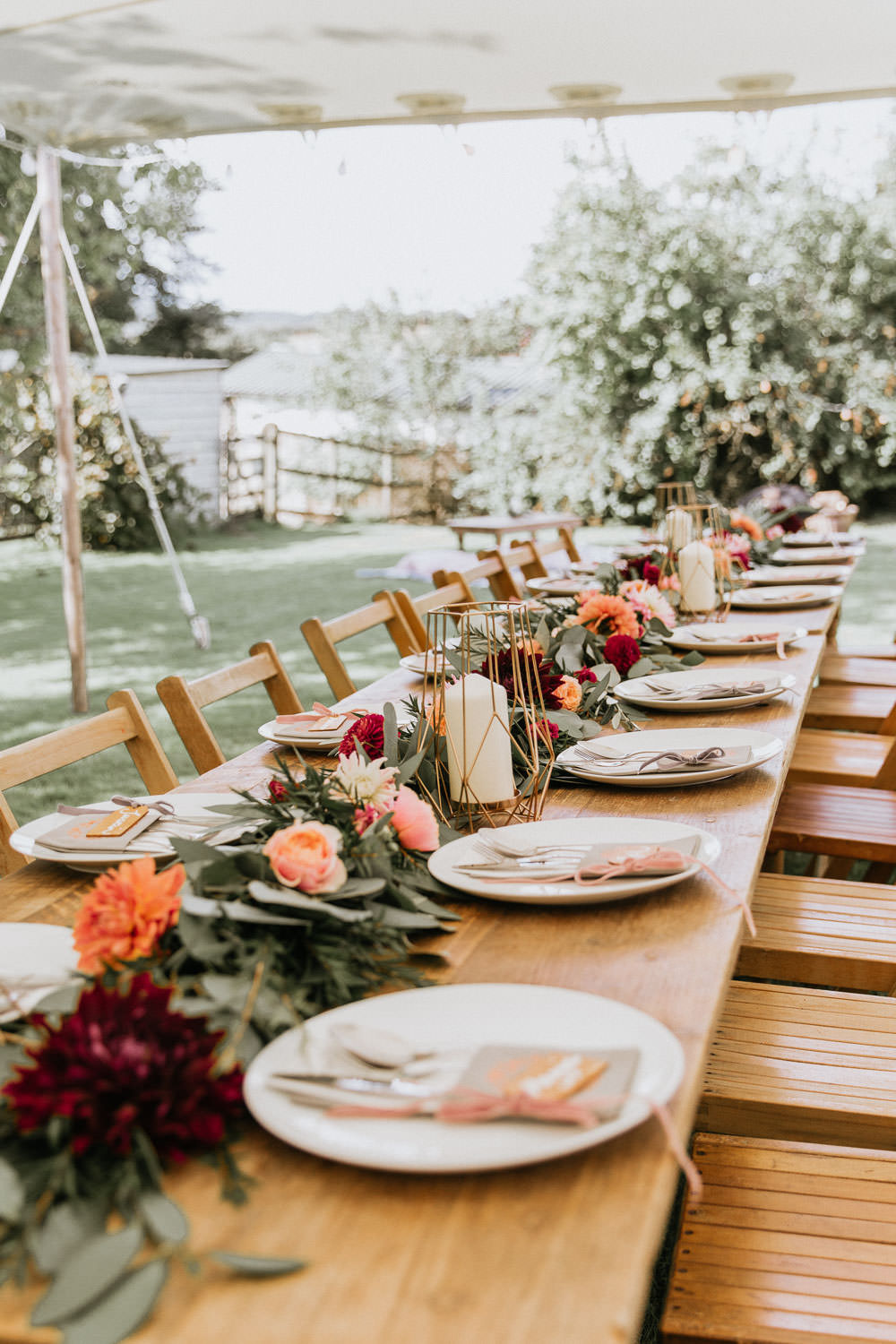 Stretch Tent Outdoor Festoon Lights Long Wooden Antique Tables Chairs Flower Swag Garland Summer Boho Wedding Wild Tide Weddings