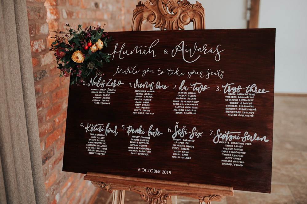 Table Plan Seating Chart Wooden Calligraphy Flowers Swancar Farm Country House Wedding Maree Frances Photography