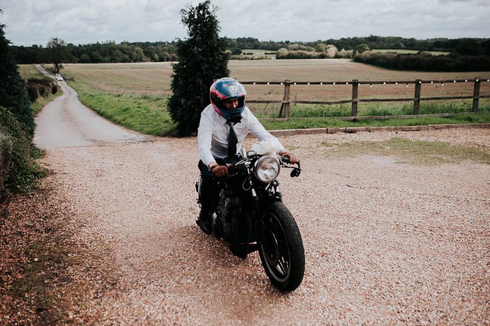 Motorbike Transport Swancar Farm Country House Wedding Maree Frances Photography