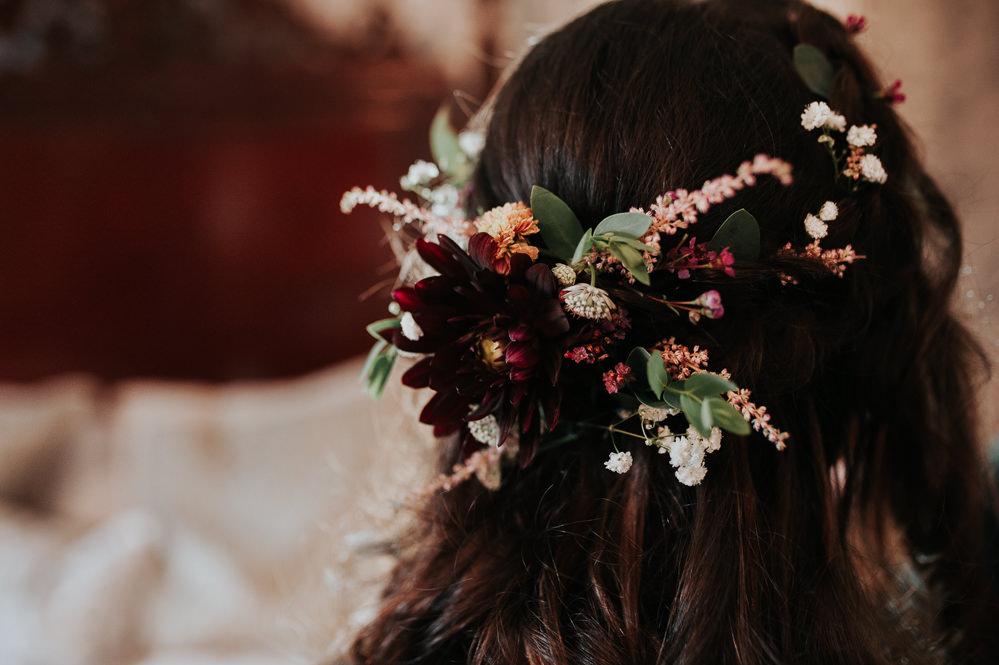 Bride Bridal Flowers Hair STyle Half Up Half Down Swancar Farm Country House Wedding Maree Frances Photography